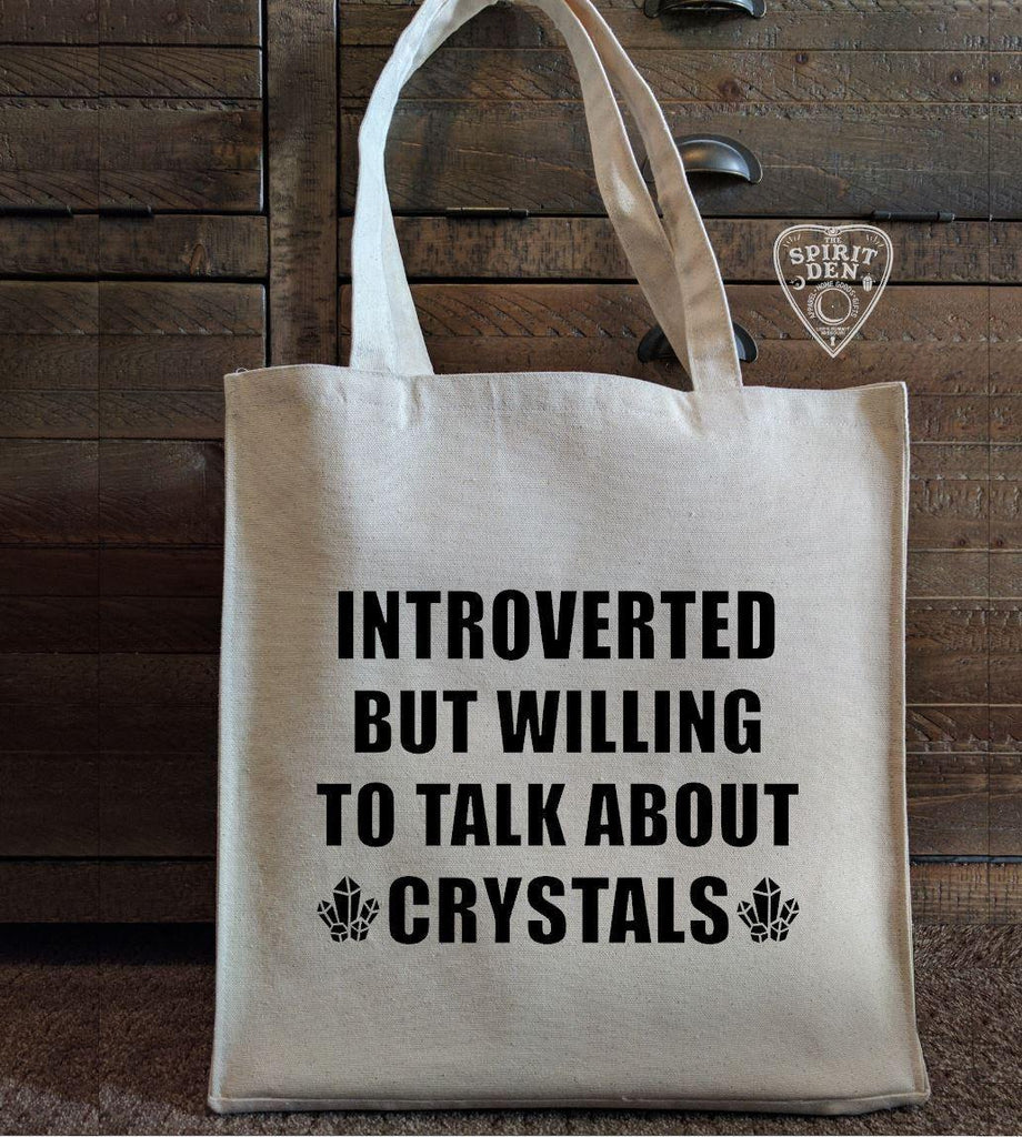 Introverted But Willing To Talk About Crystals Cotton Canvas Market Tote Bag