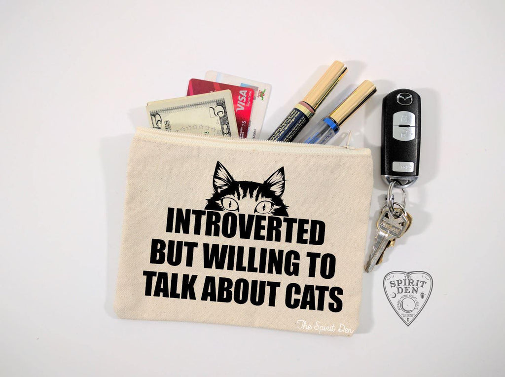 Introverted But Willing To Talk About Cats Canvas Zipper Bag