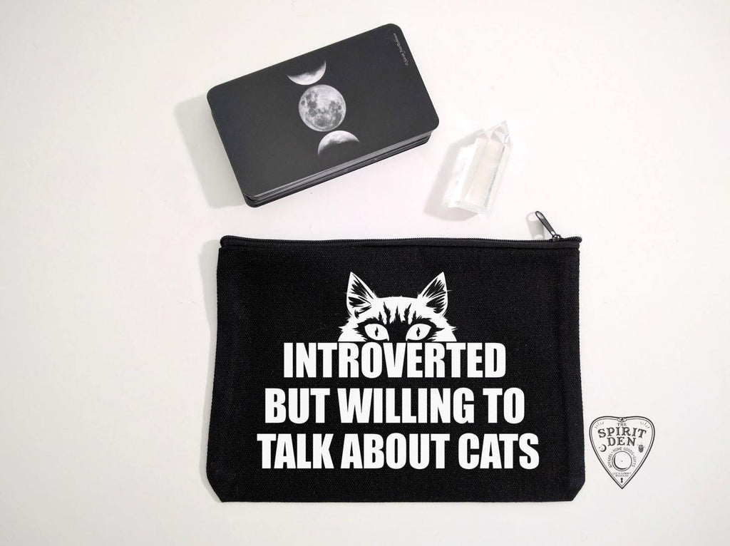 Introverted But Willing To Talk About Cats Black Canvas Zipper Bag