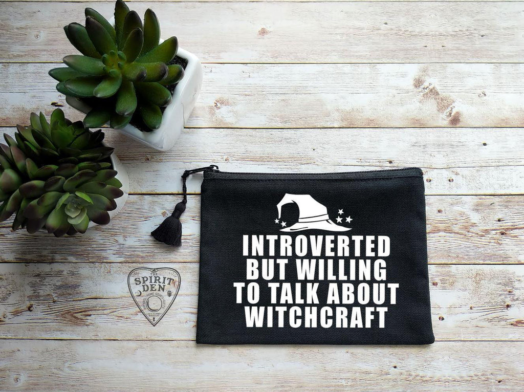 Introverted But Willing To Talk About Witchcraft  Black Canvas Zipper Bag