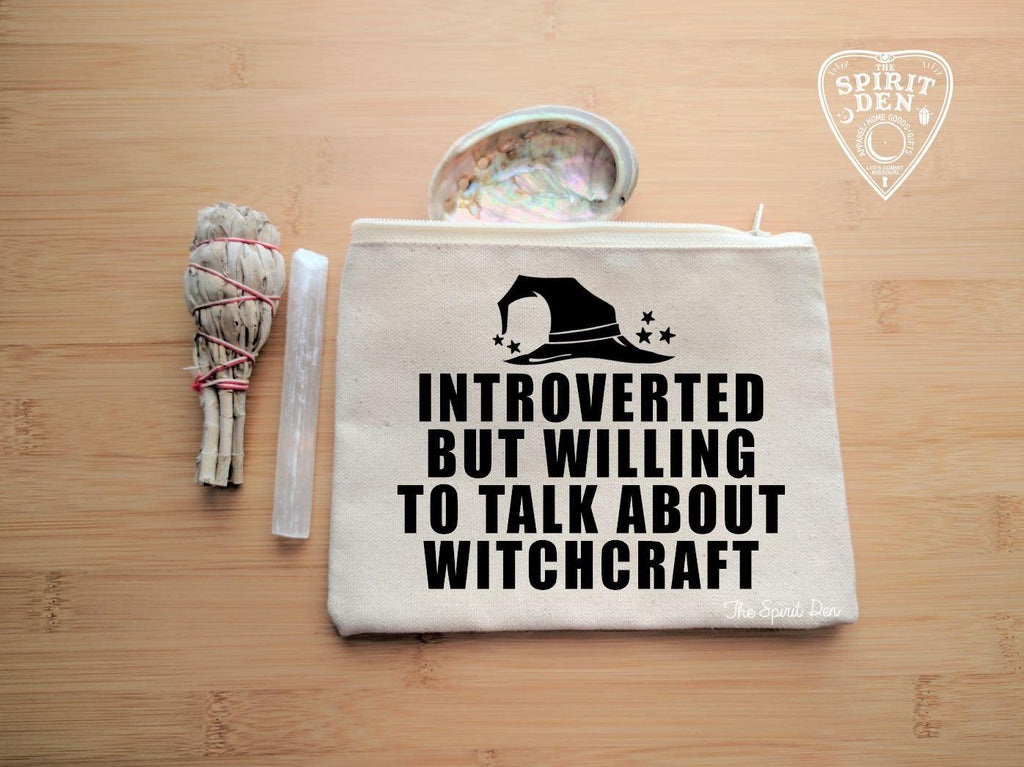 Introverted But Willing To Talk About Witchcraft Canvas Zipper Bag - The Spirit Den