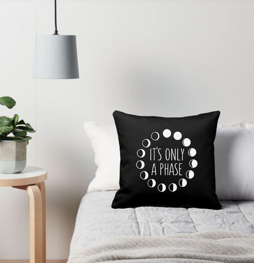 It's Only A Phase Moon Phases Black Pillow