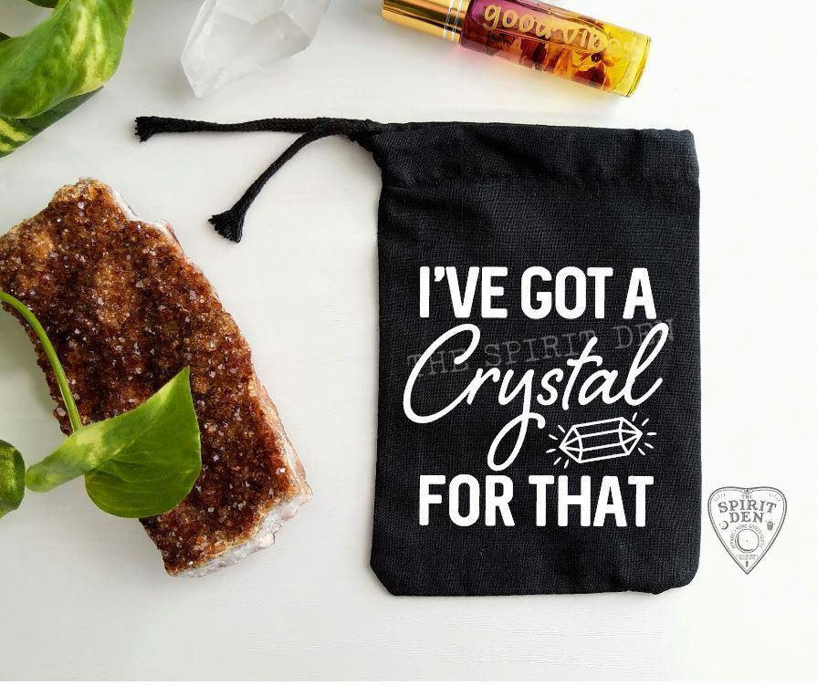 I've Got A Crystal For That Black Single Drawstring Bag