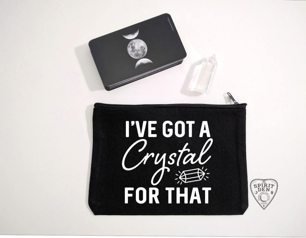 I've Got A Crystal For That Black Zipper Bag