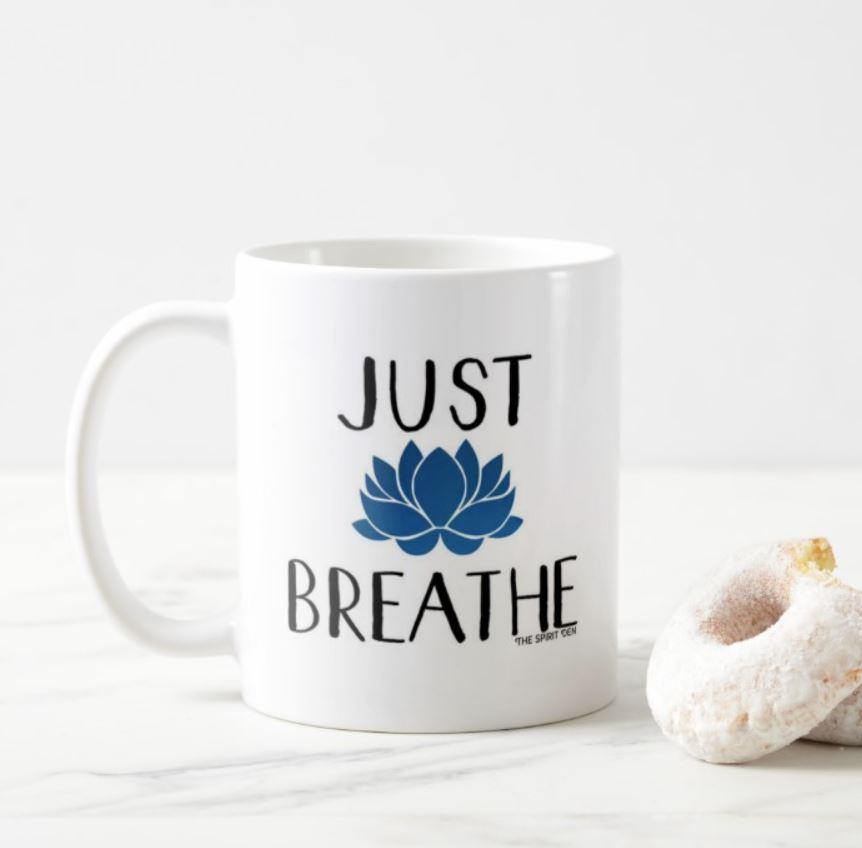 Just Breathe White Mug