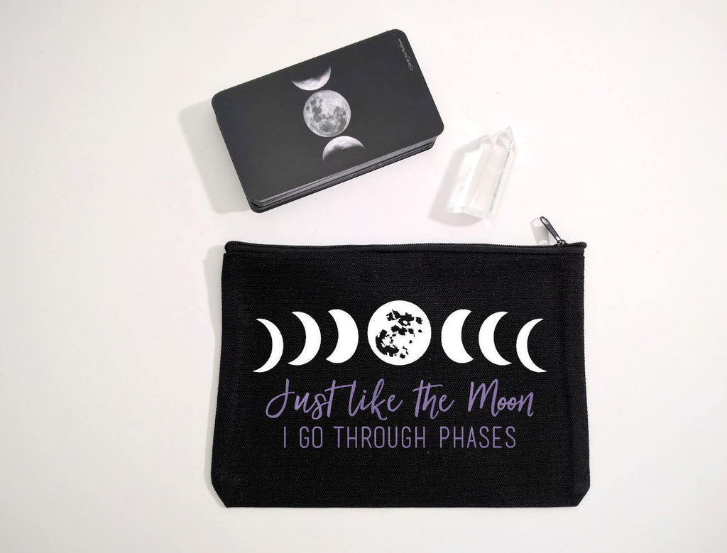 Just Like The Moon I Go Through Phases (White Moons Purple Text) Black Zipper Bag - The Spirit Den