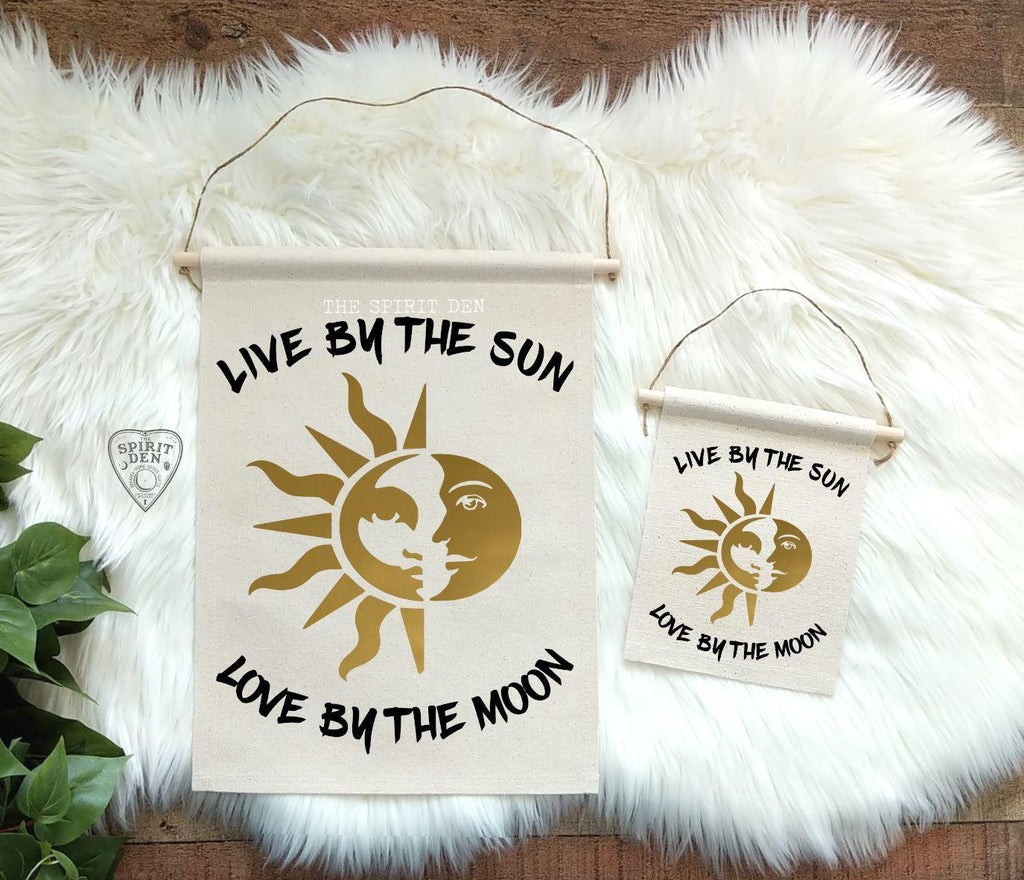 Live by the Sun Love by the Moon Cotton Canvas Wall Banner
