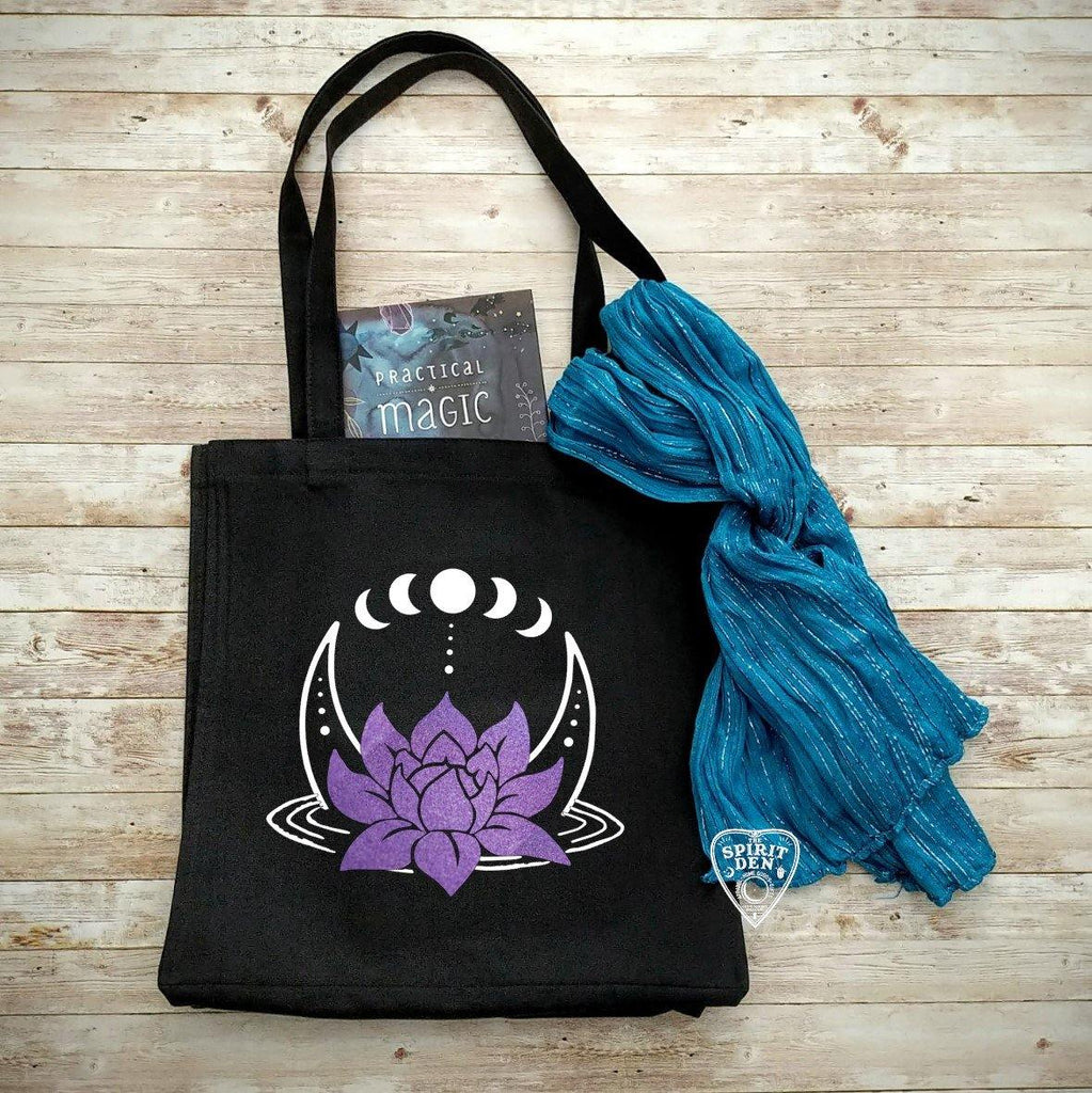 Lotus Moon Phases Black Canvas Market Tote Bag