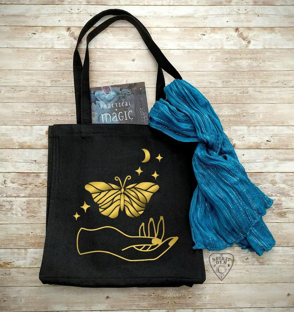 Luna Spirit Black Cotton Canvas Market Tote Bag