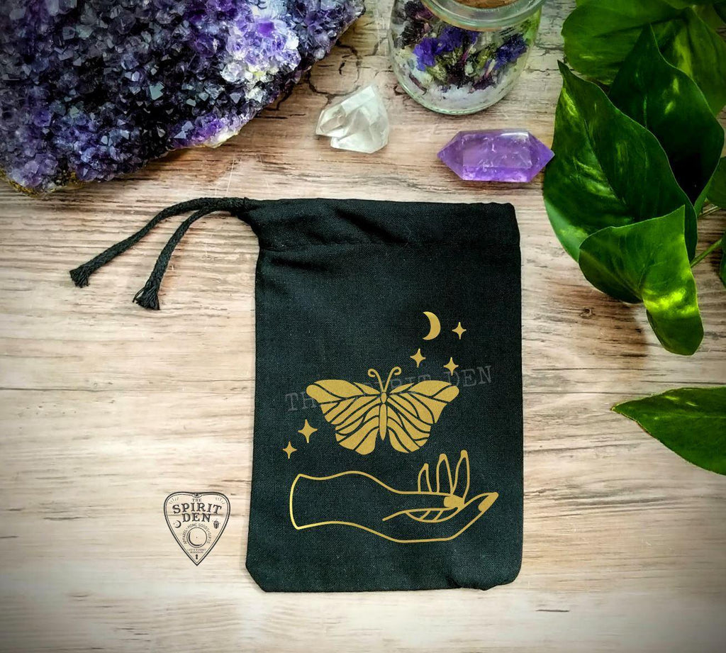 Luna Spirit Black Single Drawstring Bag - The Spirit Den