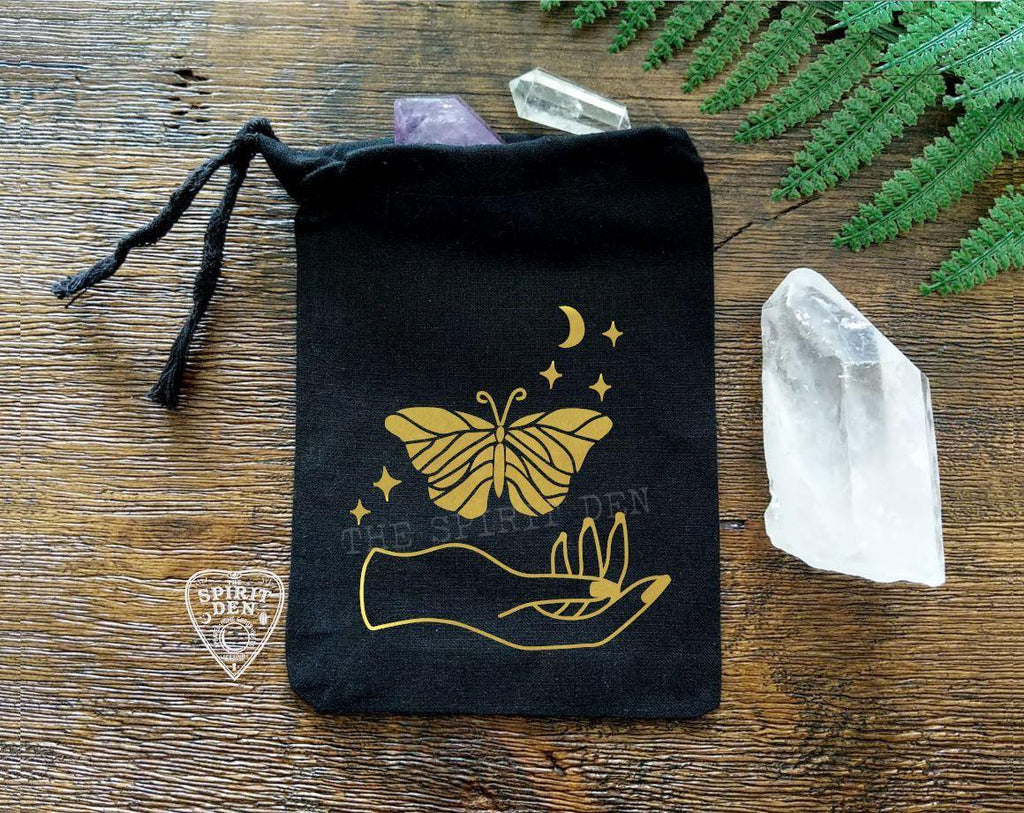 Luna Spirit Moth Black Single Drawstring Bag