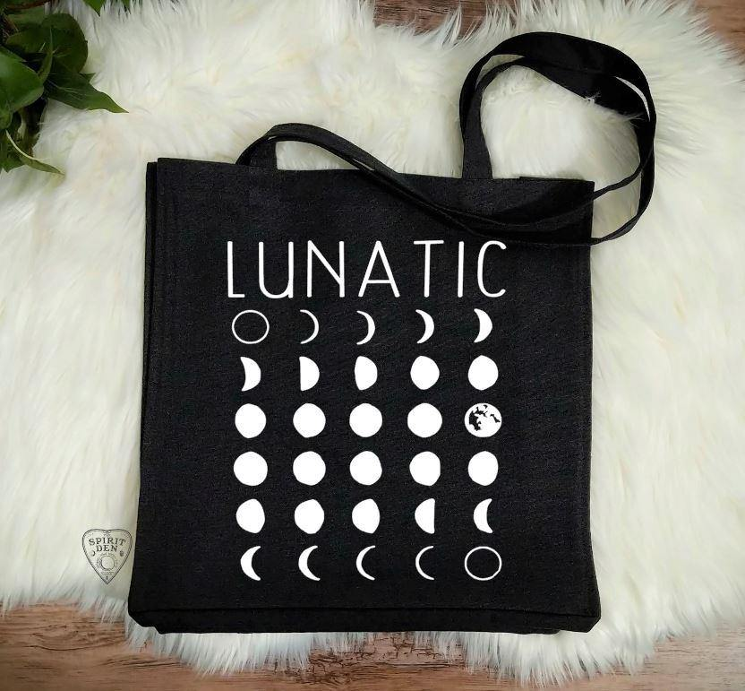 Lunatic Moon Phases Black Canvas Market Tote Bag - The Spirit Den