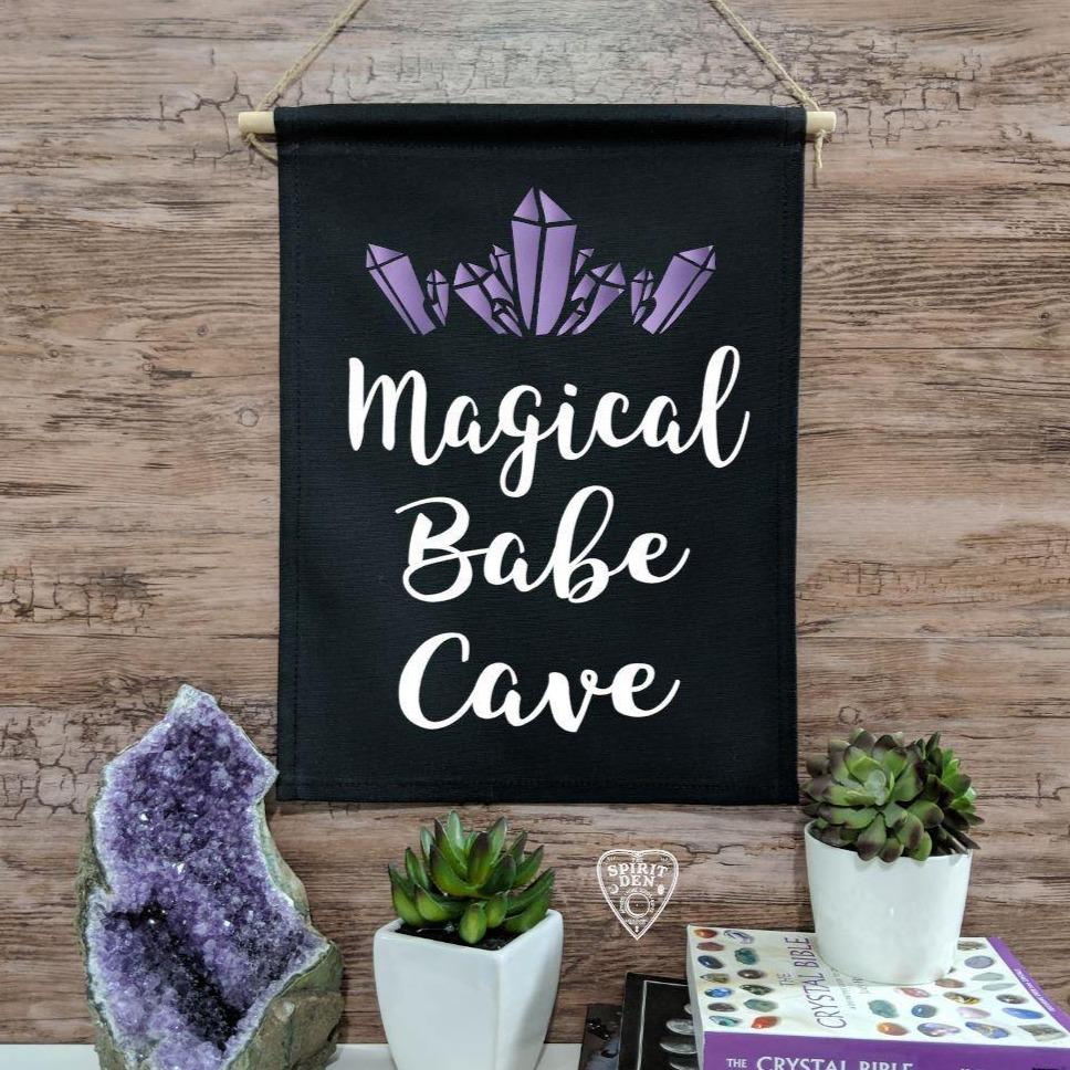 Magical Babe Cave Black Canvas Wall Banner - The Spirit Den