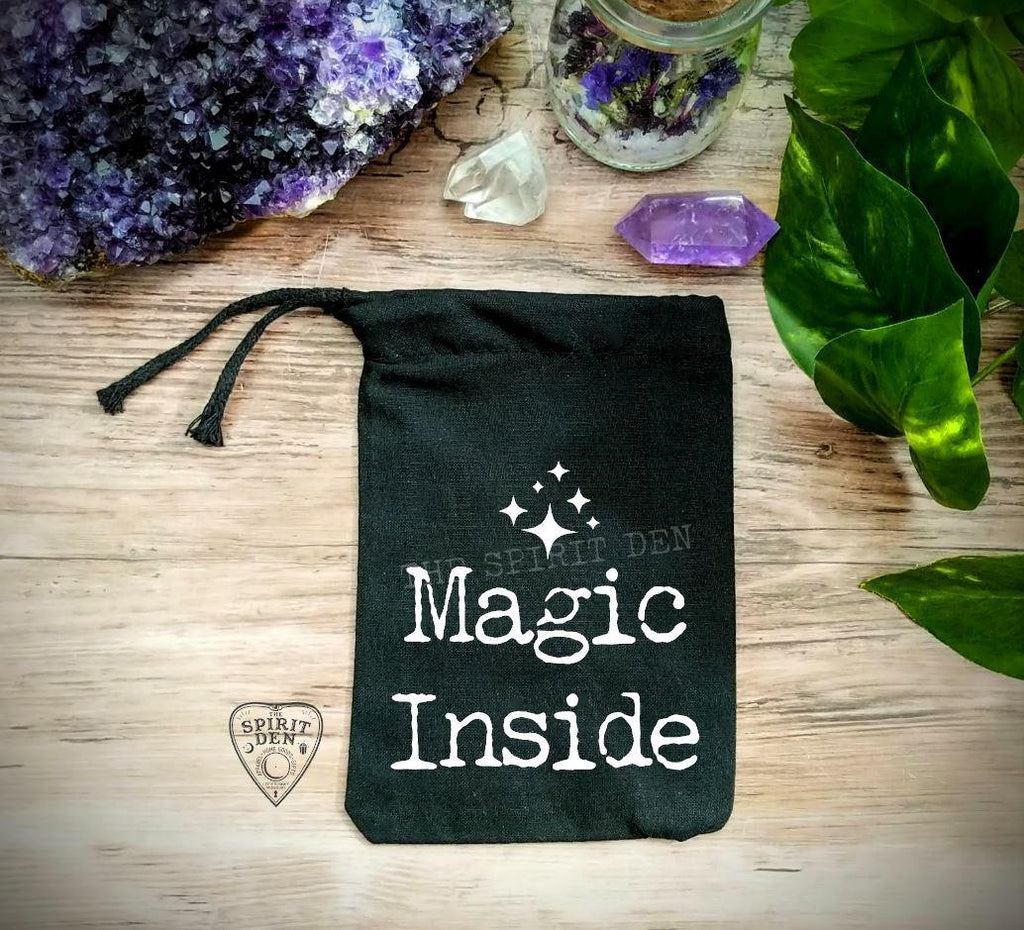 Magic Inside Black Single Drawstring Bag