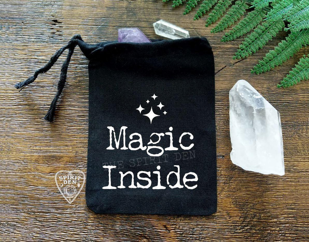 Magic Inside Black Single Drawstring Bag - The Spirit Den