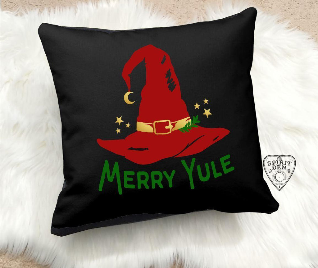 Merry Yule Cotton Black Pillow