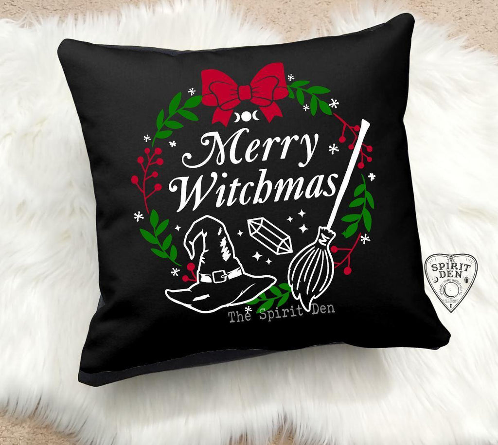 Merry Witchmas Black Pillow