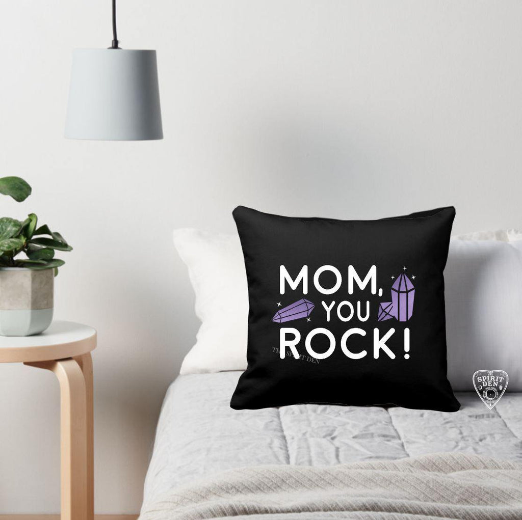 Mom You Rock Black Pillow