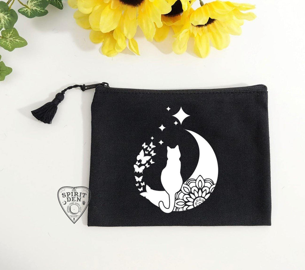 Moon Dreamin Kitty Black Canvas Zipper Bag