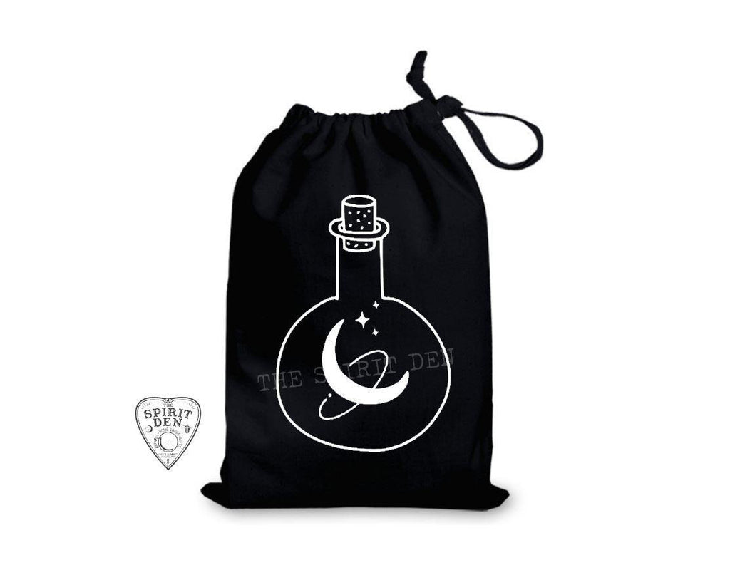 Moon Potions Black Single Drawstring Bag - The Spirit Den