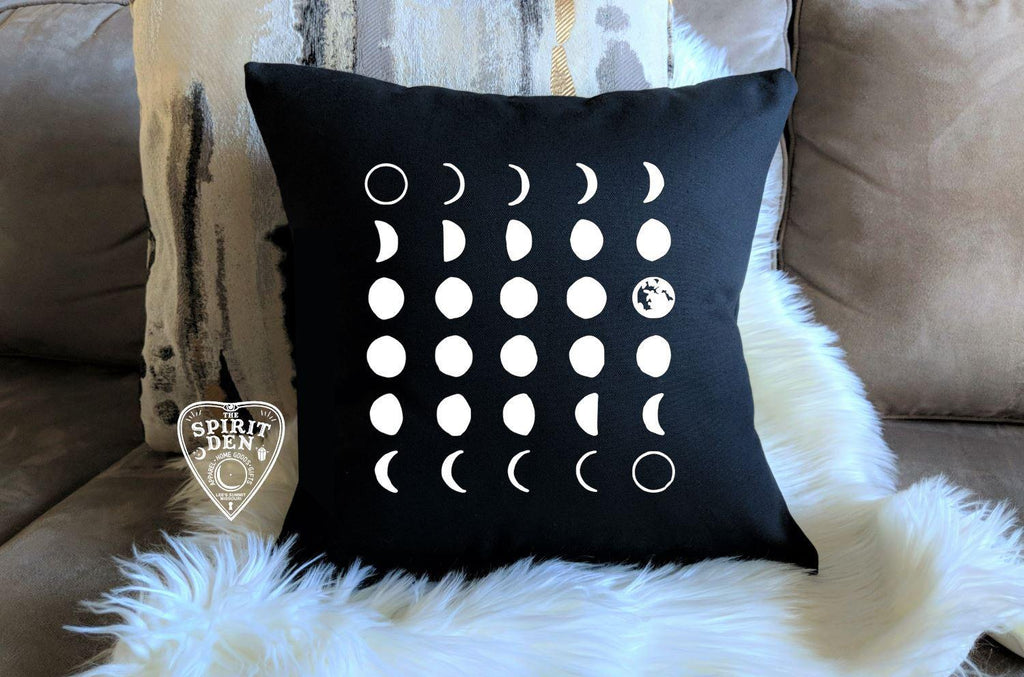Moon Phases Black Pillow