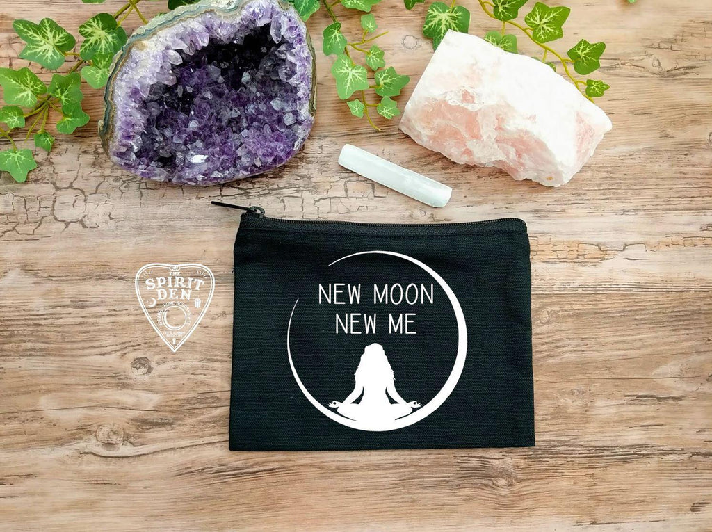 New Moon New Me Goddess Black Canvas Zipper Bag
