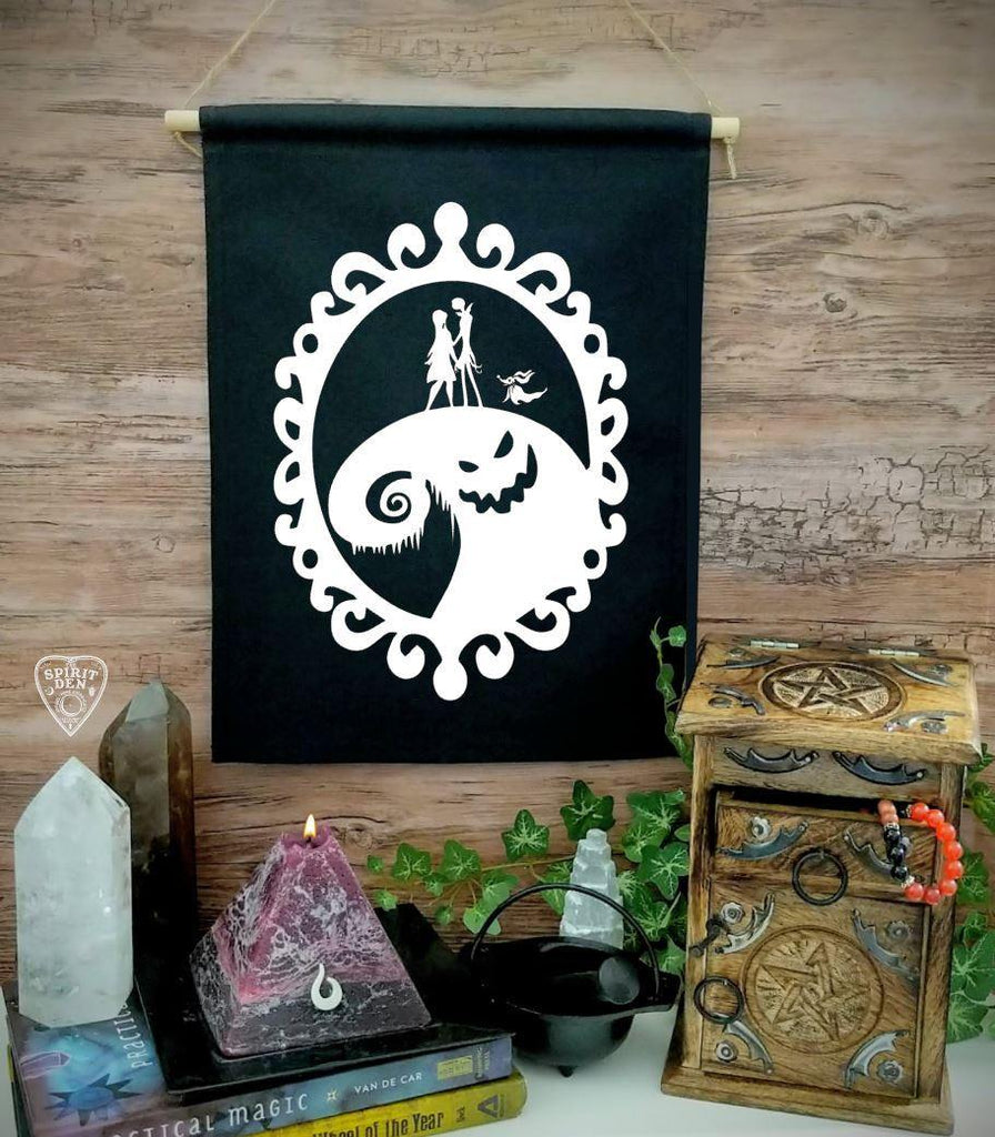 Nightmare Before Christmas Black Canvas Wall Banner
