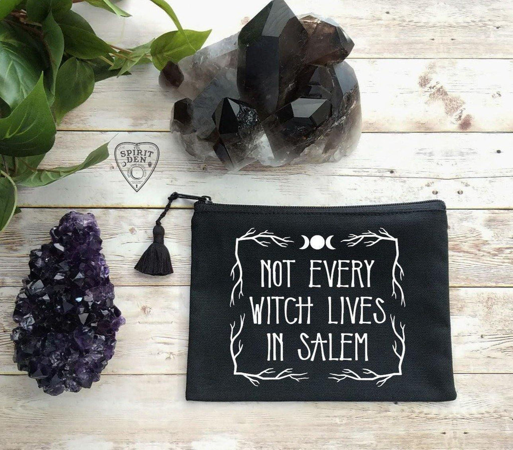 Not Every Witch Lives In Salem Black Canvas Zipper Bag