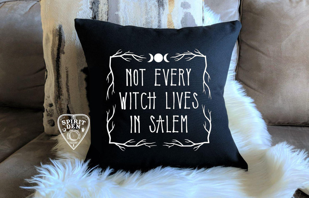 Not Every Witch Lives In Salem Black Pillow | Pillow Cover