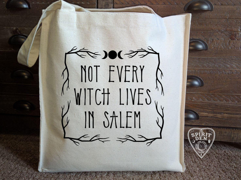 Not Every Witch Lives In Salem Cotton Canvas Market Tote Bag