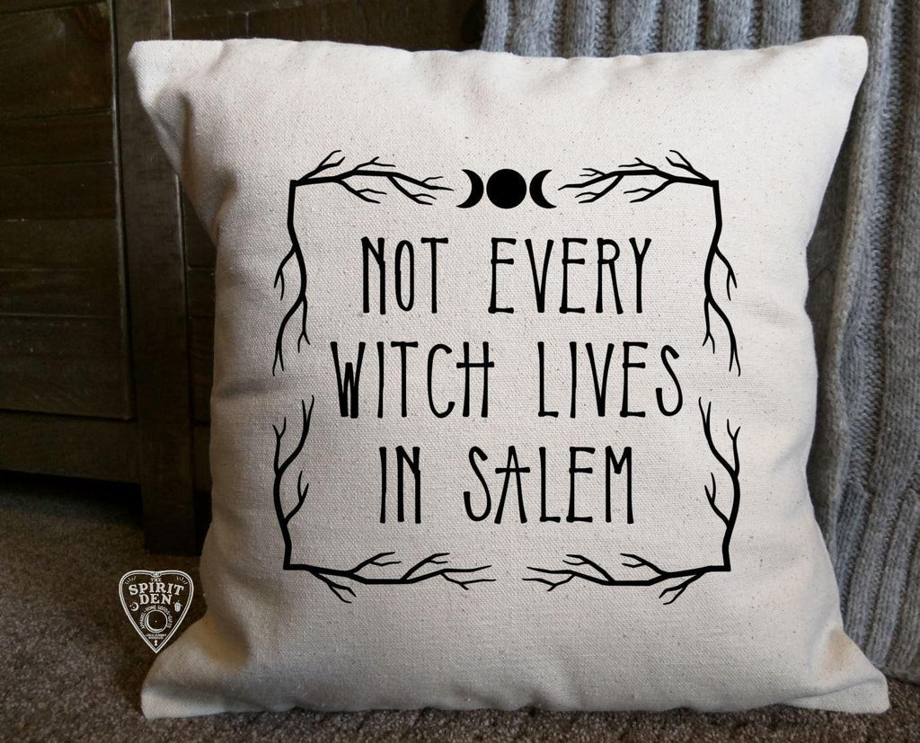 Not Every Witch Lives In Salem Natural Pillow | Pillow Cover - The Spirit Den