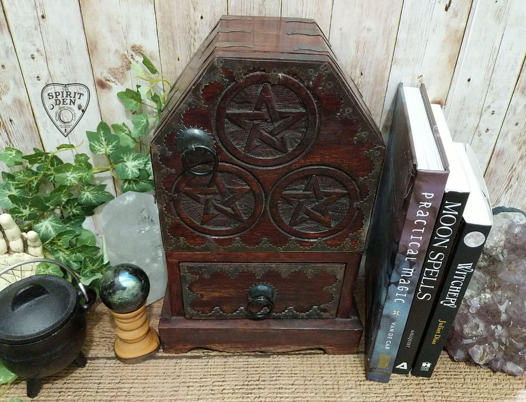Vintage Inspired Wood Pentacle Altar Cupboard | Altar Herb Chest