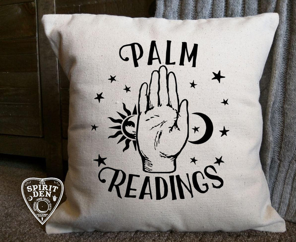 Palm Readings Cotton Canvas Natural Pillow