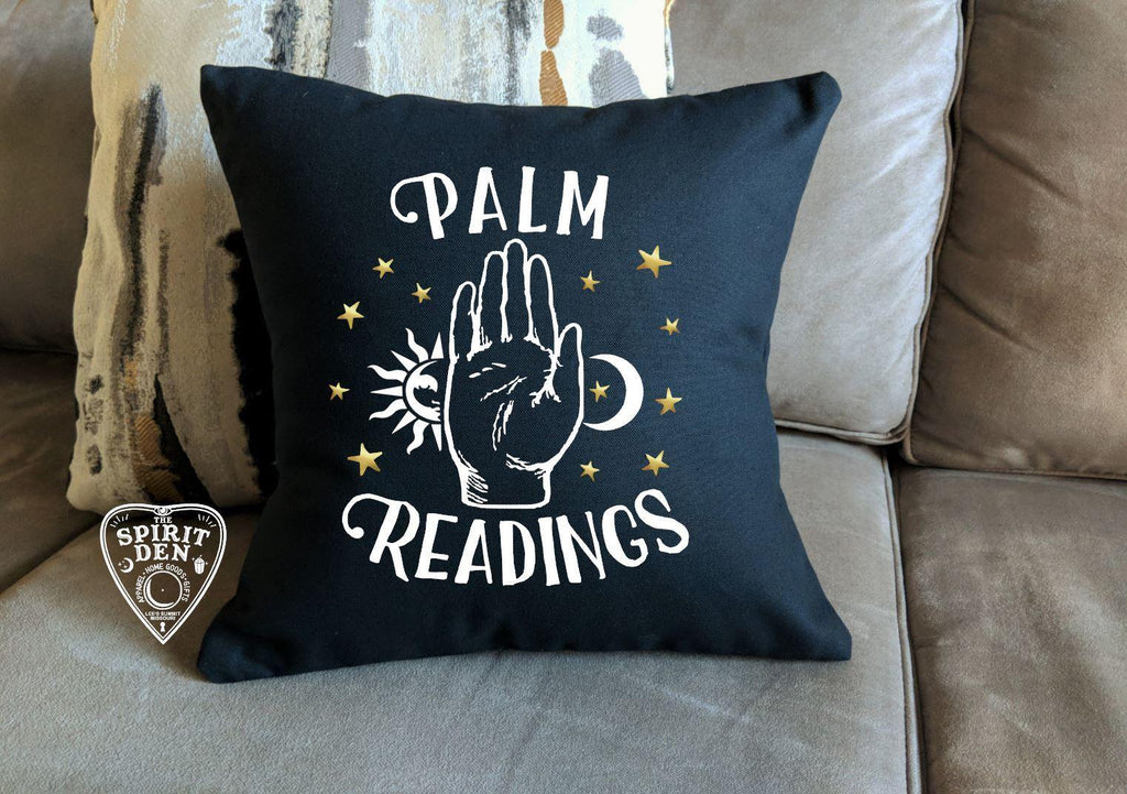 Palm Readings Black Pillow