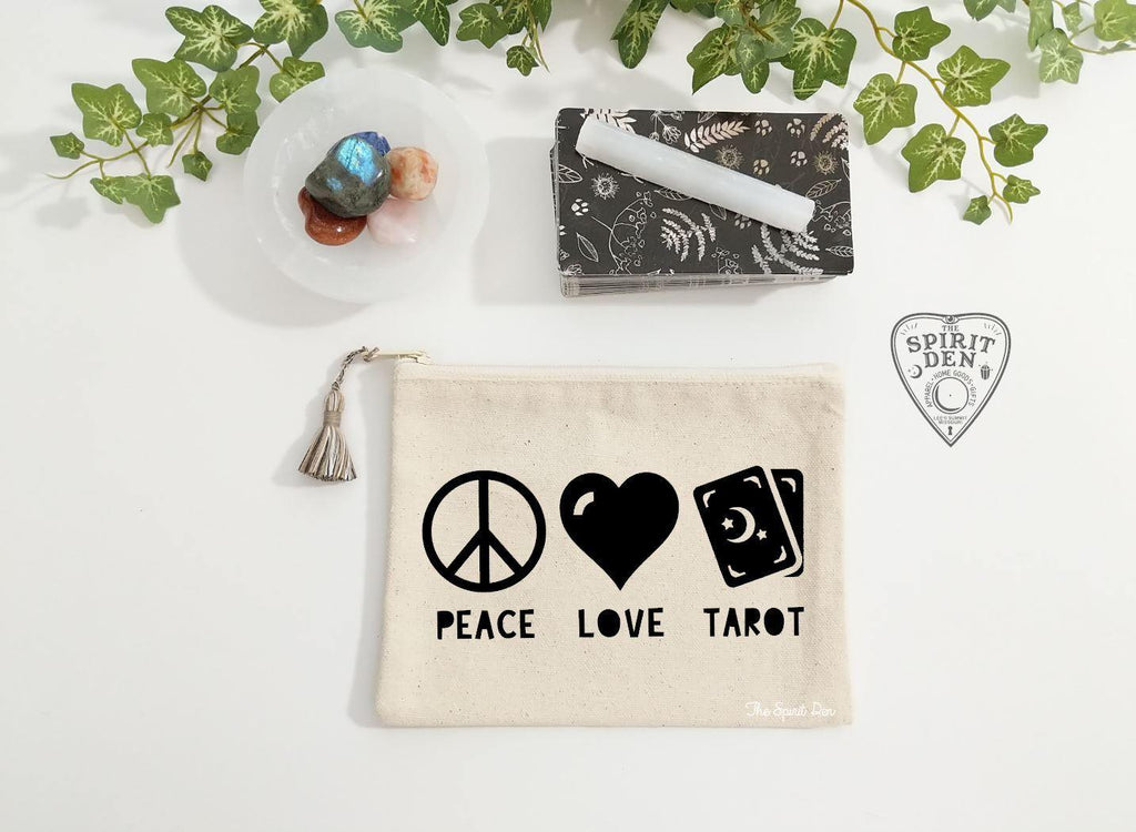 Peace Love Tarot Canvas Zipper Bag