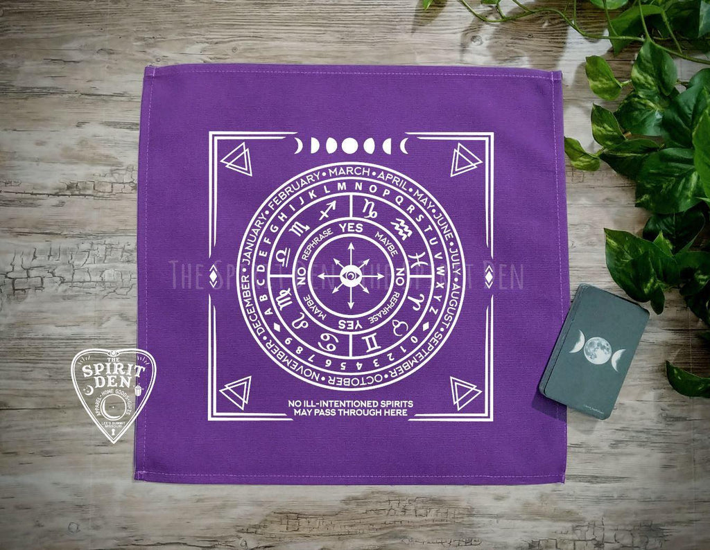 Pendulum | Divination Map | Purple Cloth (White Design) - The Spirit Den