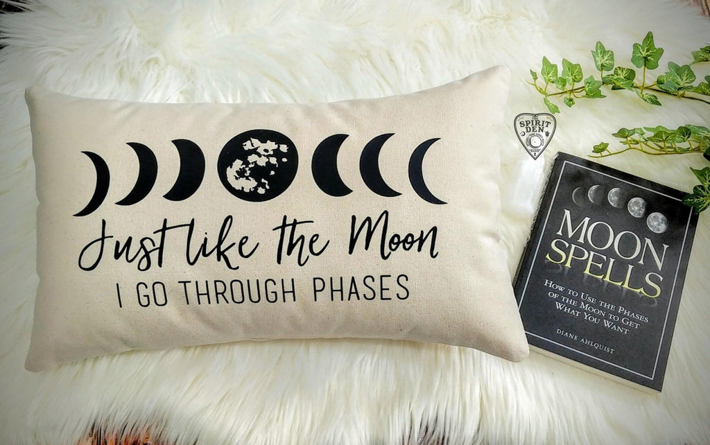 Just Like The Moon I Go Through Phases Moon Cotton Canvas Lumbar Pillow Witch Pillow  Witch Gift  Moon Phases Pillow  Moon Lover Gift  Luna