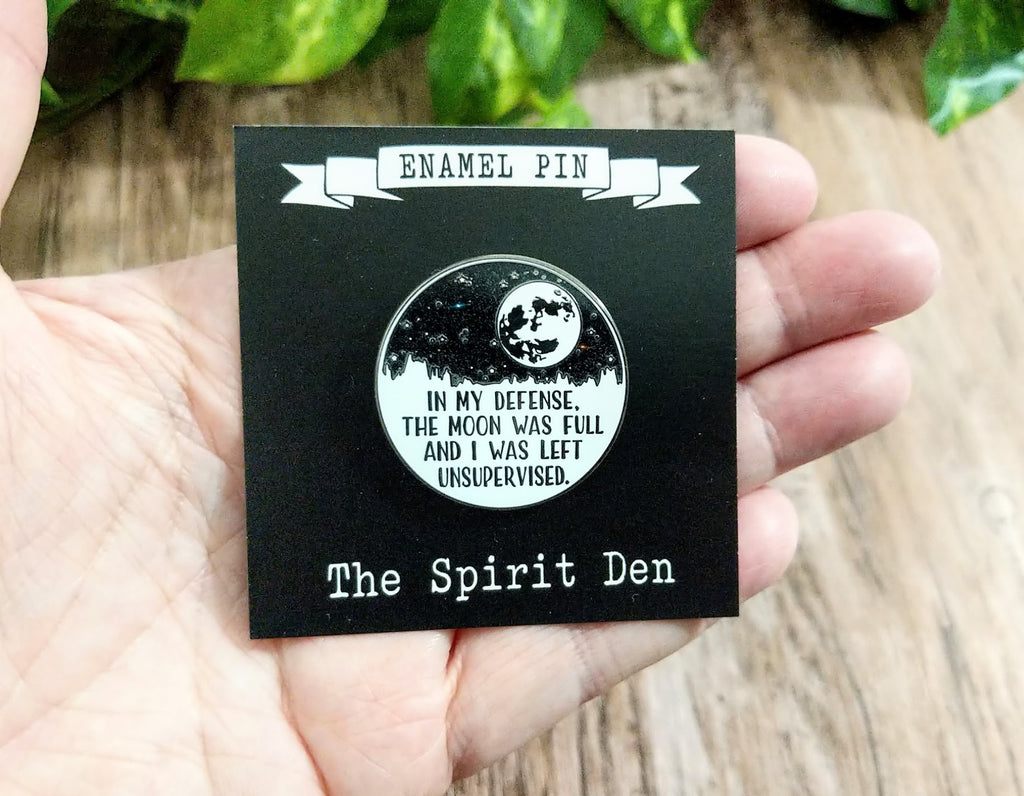 In My Defense Moon Enamel Pin
