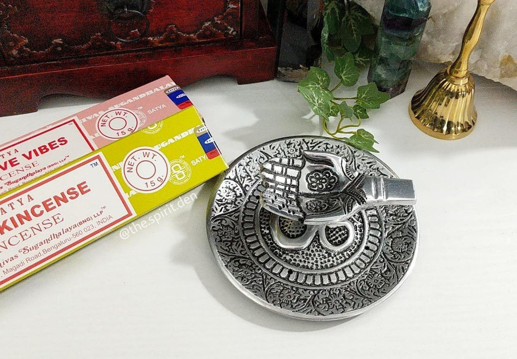 Offering Hands OM Metal Incense Burner for Incense Cones or Sticks - The Spirit Den