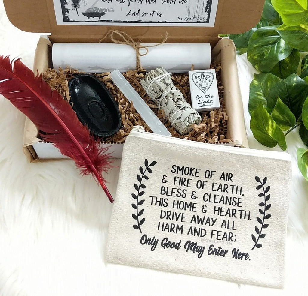 Home Blessing - Energy Cleansing Smudge Kit with Canvas Zipper Pouch | Energy Cleansing