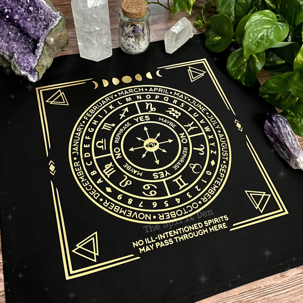 Pendulum | Divination Map | Black Cloth (Gold Design) - The Spirit Den