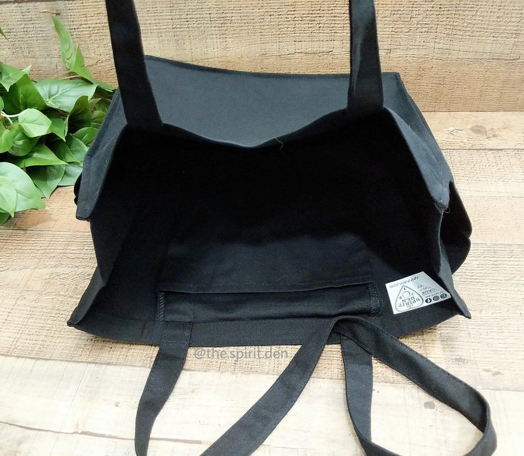 Luna Spirit Black Cotton Canvas Market Tote Bag - The Spirit Den