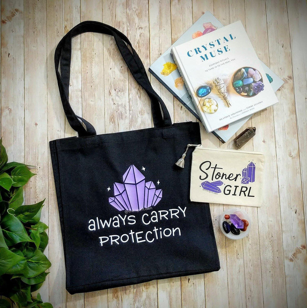 Always Carry Protection Crystals Black Canvas Market Tote Bag
