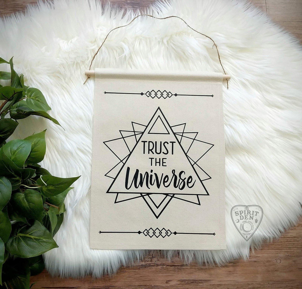 Trust The Universe Sacred Geometry Cotton Canvas Wall Banner