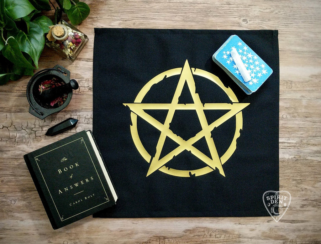 Gold Pentacle Pentagram Altar Cloth