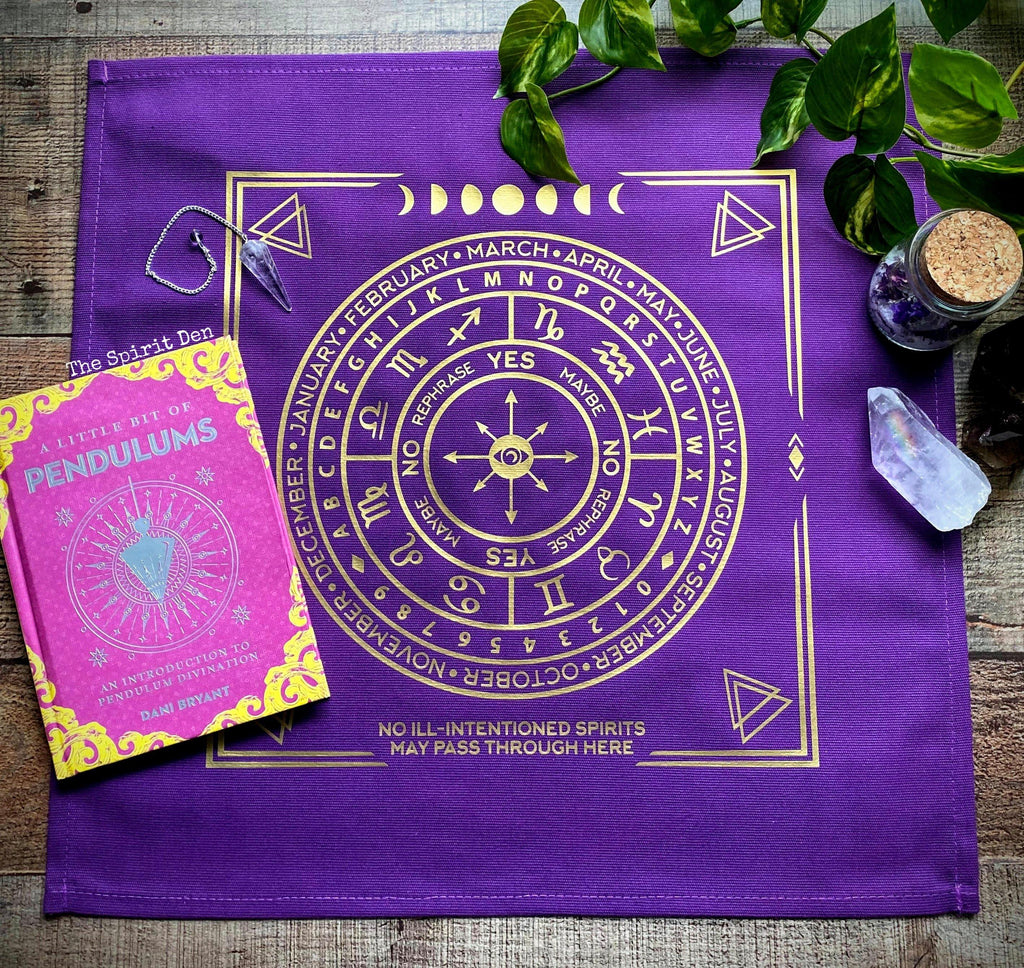 Pendulum | Divination Map | Purple Cloth (Gold Design) - The Spirit Den