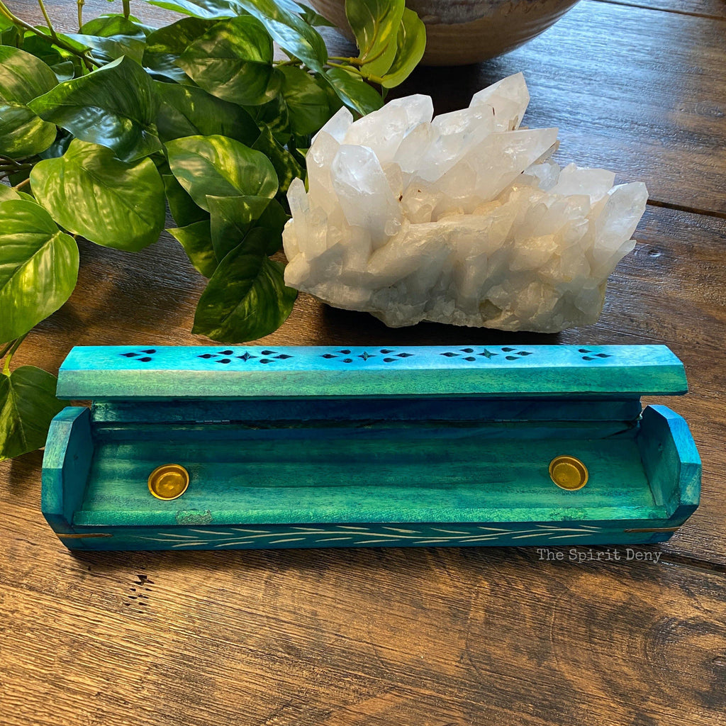 Turquoise Blue Wood Incense Box Burner & Storage for Incense Cones and Sticks