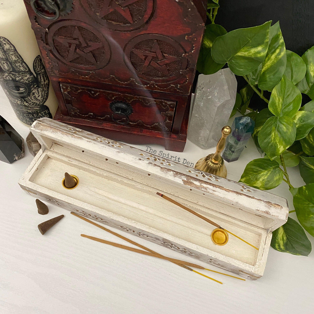 White Washed Wood Incense Box Burner & Storage for Incense Cones and Sticks