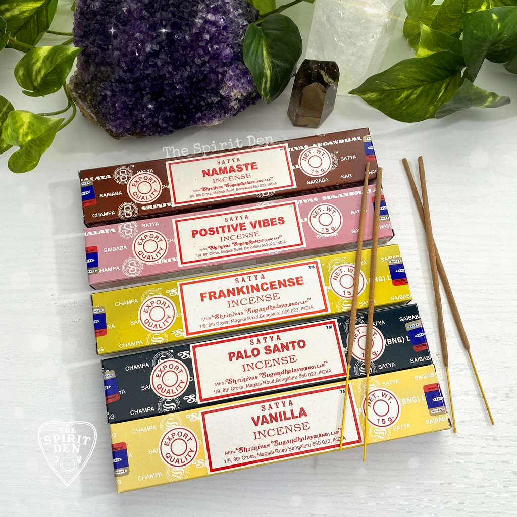 Satya Assorted Incense 15g Box | Vanilla, Namaste, Positive Vibes or Palo Santo - The Spirit Den