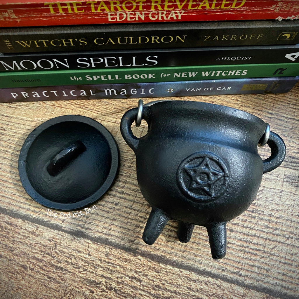 Pentacle Cauldron - Black Cast Iron
